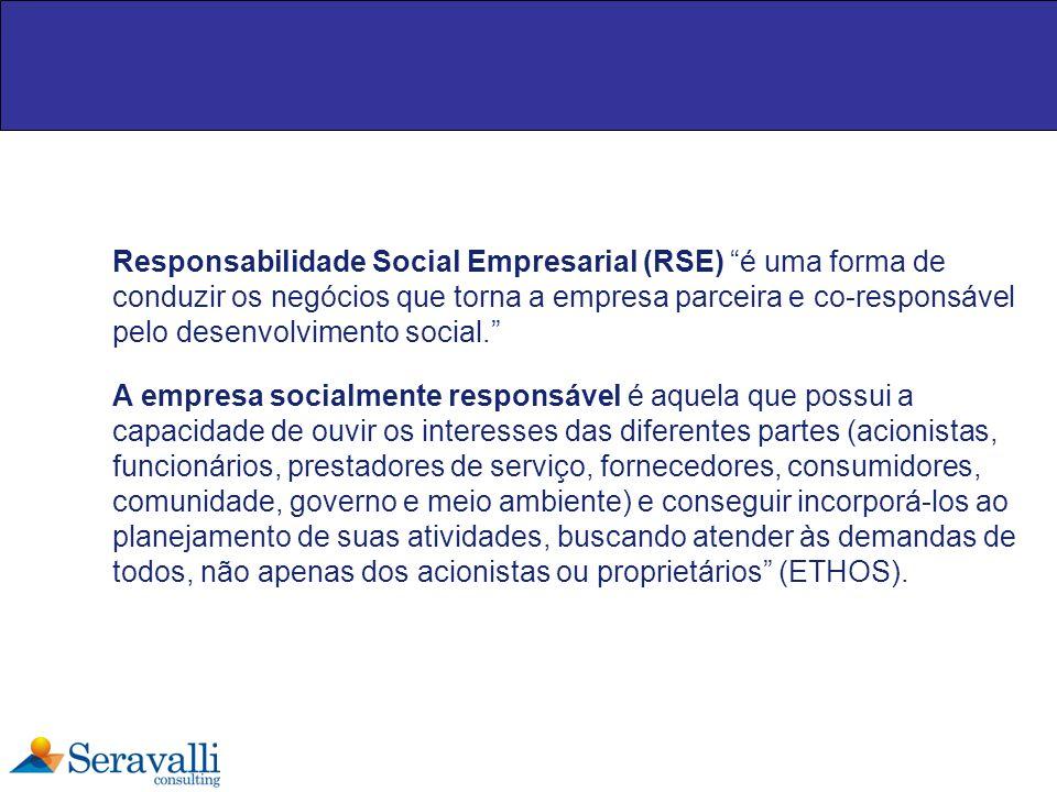 Responsabilidade Social Empresarial (RSE) é uma forma de conduzir os negócios que torna a empresa parceira e co-responsável pelo desenvolvimento social.