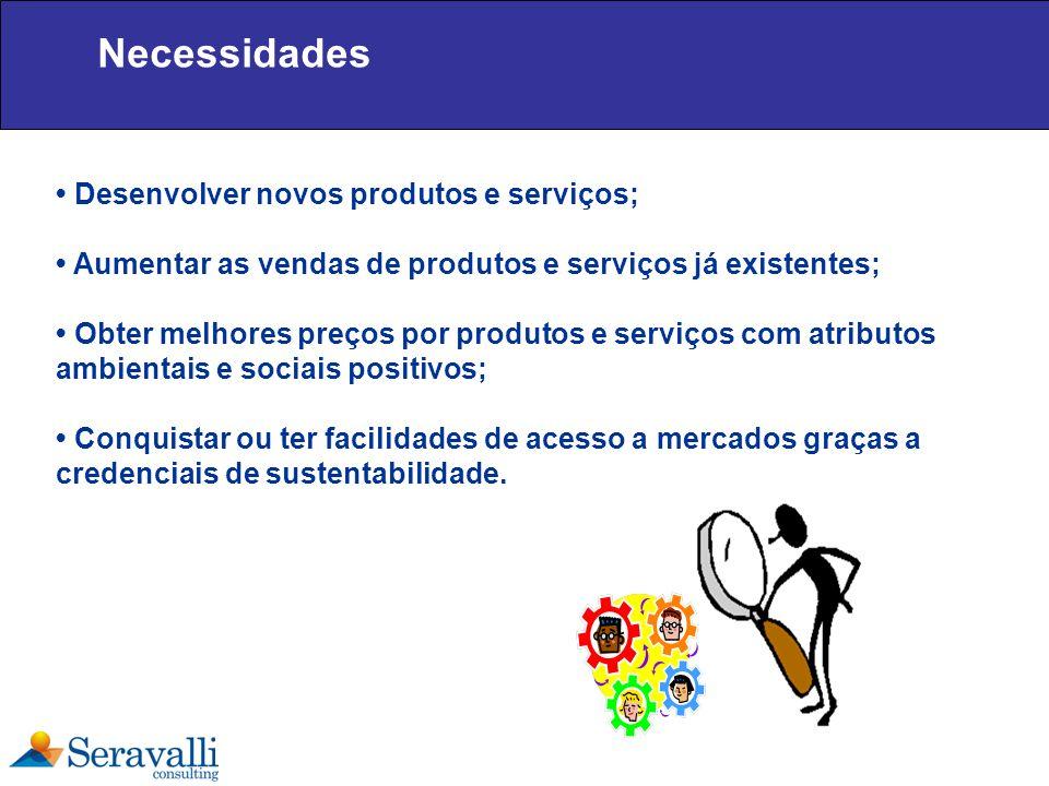 Necessidades • Desenvolver novos produtos e serviços;
