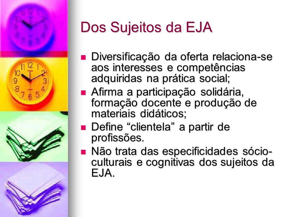 Dos Sujeitos da EJA Diversificação da oferta relaciona-se aos interesses e competências adquiridas na prática social;