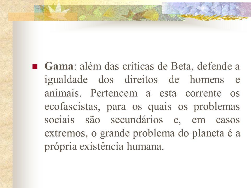 Gama: além das críticas de Beta, defende a igualdade dos direitos de homens e animais.