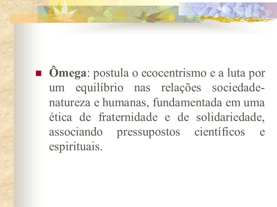 Ômega: postula o ecocentrismo e a luta por um equilíbrio nas relações sociedade-natureza e humanas, fundamentada em uma ética de fraternidade e de solidariedade, associando pressupostos científicos e espirituais.