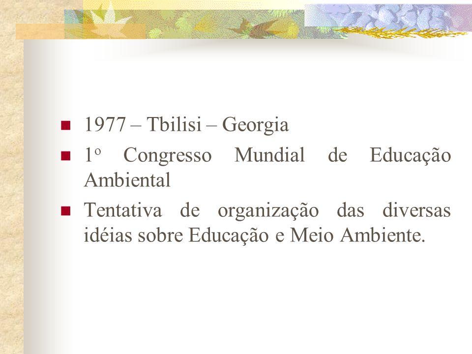 1977 – Tbilisi – Georgia 1o Congresso Mundial de Educação Ambiental.