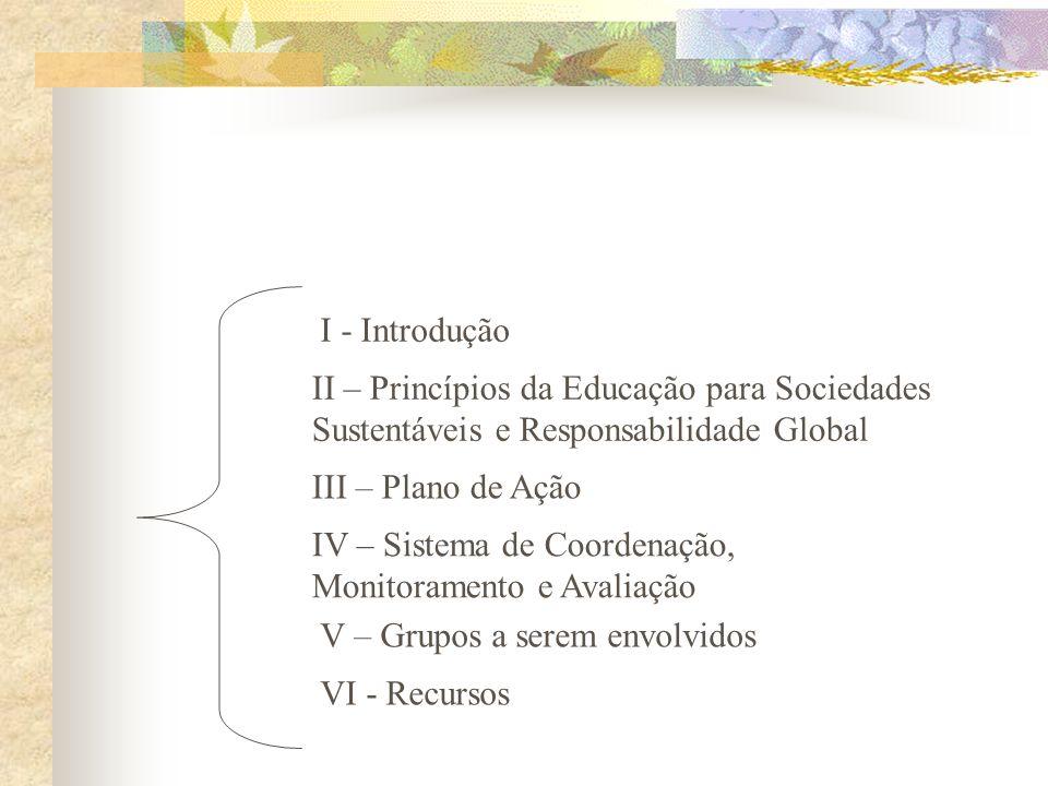 I - IntroduçãoII – Princípios da Educação para Sociedades Sustentáveis e Responsabilidade Global. III – Plano de Ação.