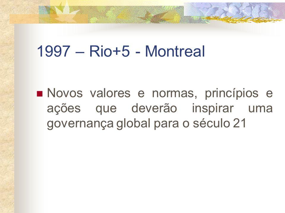 1997 – Rio+5 - MontrealNovos valores e normas, princípios e ações que deverão inspirar uma governança global para o século 21.