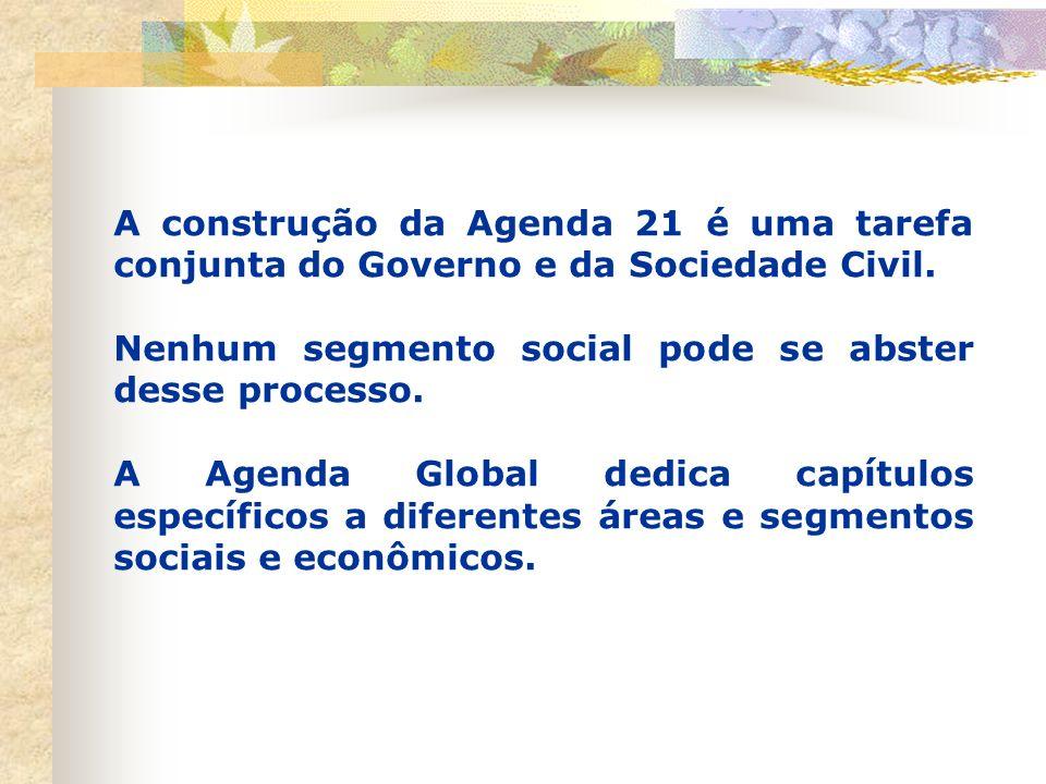 A construção da Agenda 21 é uma tarefa conjunta do Governo e da Sociedade Civil.