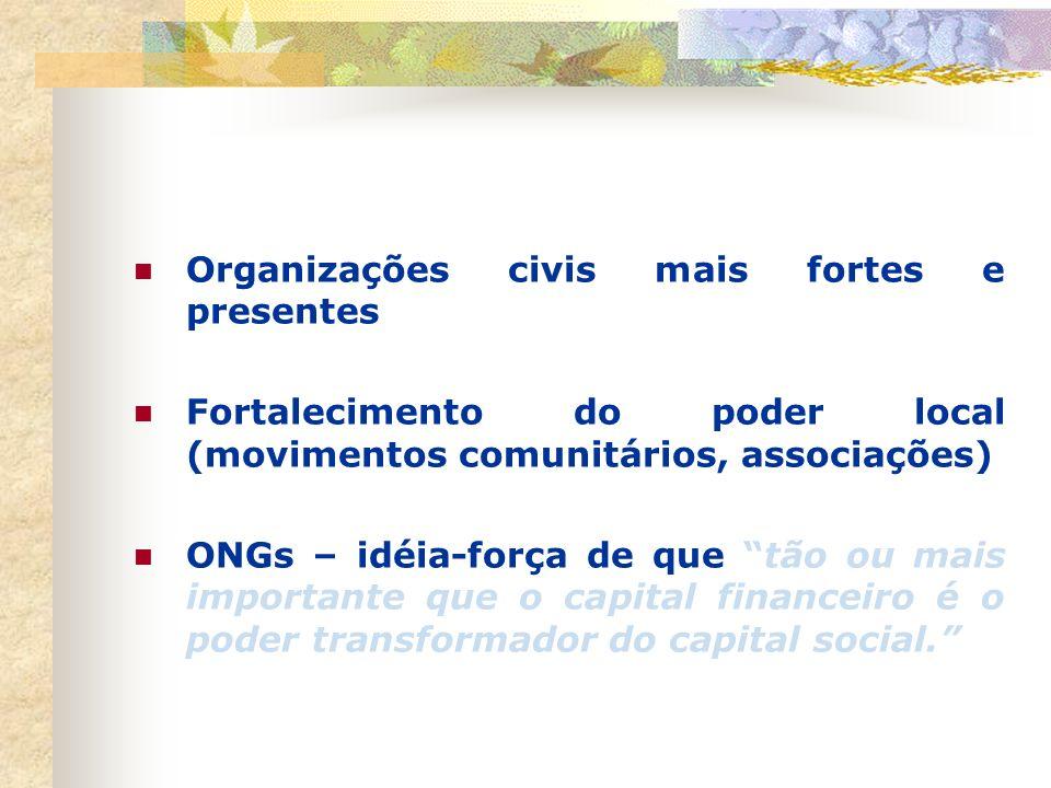 Organizações civis mais fortes e presentes