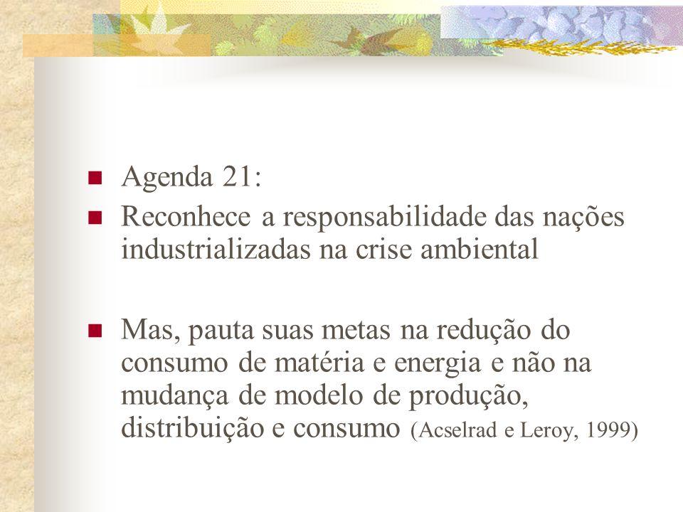 Agenda 21:Reconhece a responsabilidade das nações industrializadas na crise ambiental.