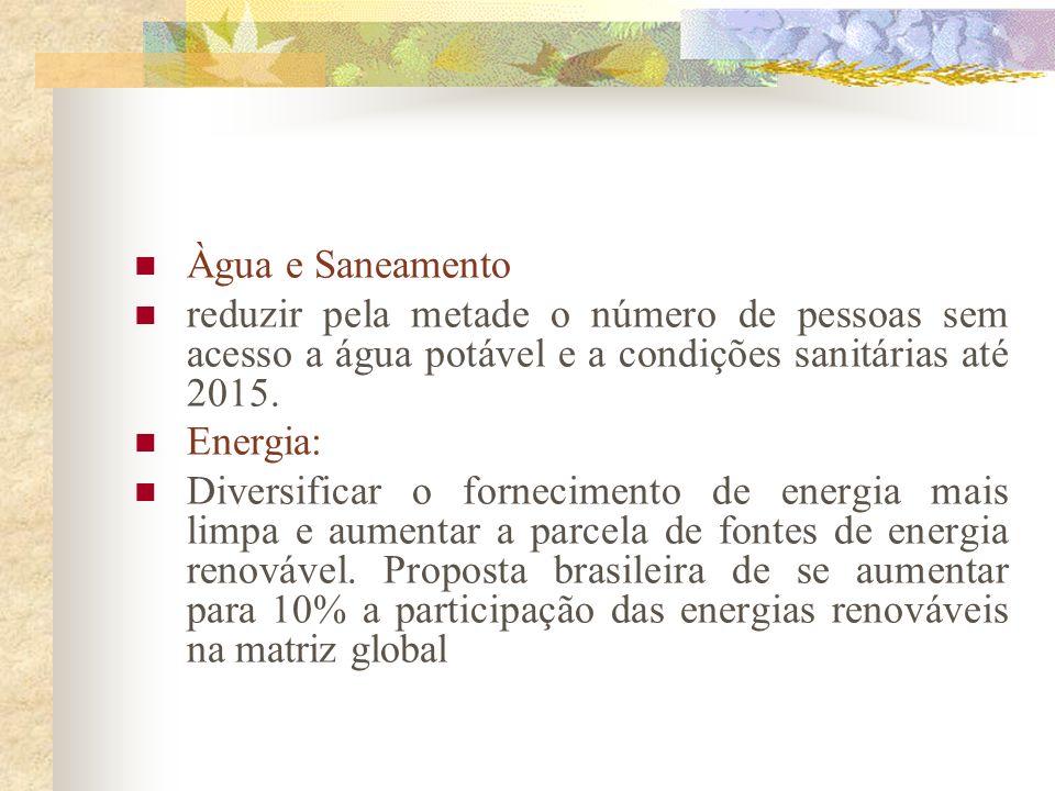 Àgua e Saneamentoreduzir pela metade o número de pessoas sem acesso a água potável e a condições sanitárias até 2015.