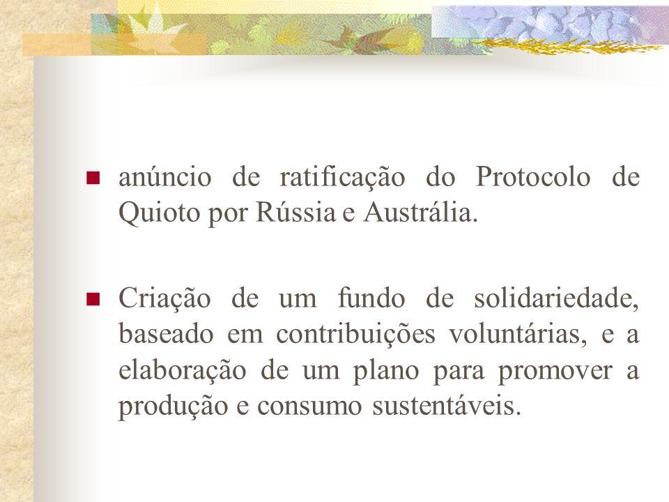 anúncio de ratificação do Protocolo de Quioto por Rússia e Austrália.