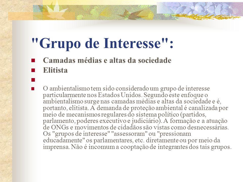 Grupo de Interesse : Camadas médias e altas da sociedade Elitista