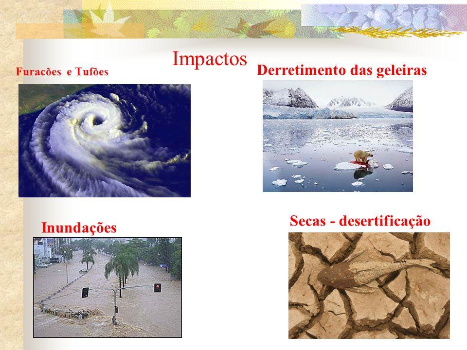 Impactos Derretimento das geleiras Secas - desertificação Inundações