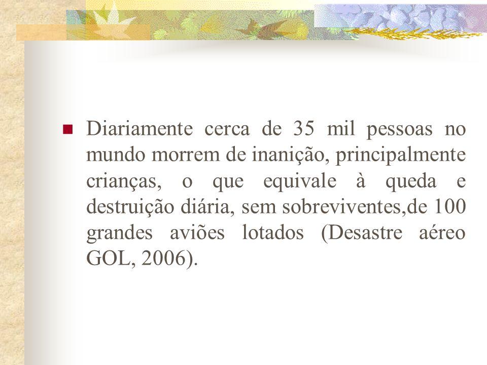 Diariamente cerca de 35 mil pessoas no mundo morrem de inanição, principalmente crianças, o que equivale à queda e destruição diária, sem sobreviventes,de 100 grandes aviões lotados (Desastre aéreo GOL, 2006).