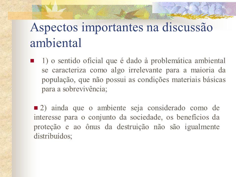 Aspectos importantes na discussão ambiental