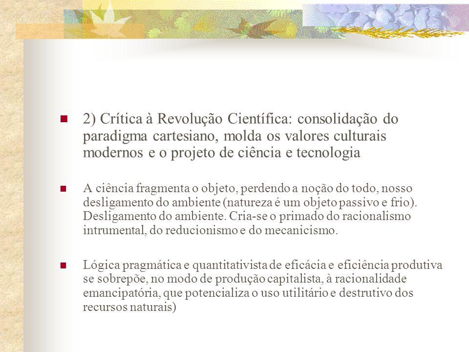 2) Crítica à Revolução Científica: consolidação do paradigma cartesiano, molda os valores culturais modernos e o projeto de ciência e tecnologia