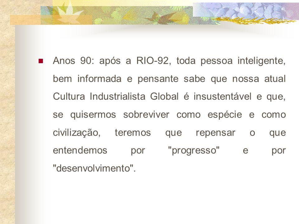 Anos 90: após a RIO-92, toda pessoa inteligente, bem informada e pensante sabe que nossa atual Cultura Industrialista Global é insustentável e que, se quisermos sobreviver como espécie e como civilização, teremos que repensar o que entendemos por progresso e por desenvolvimento .