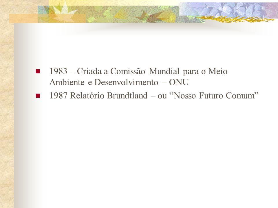 1983 – Criada a Comissão Mundial para o Meio Ambiente e Desenvolvimento – ONU