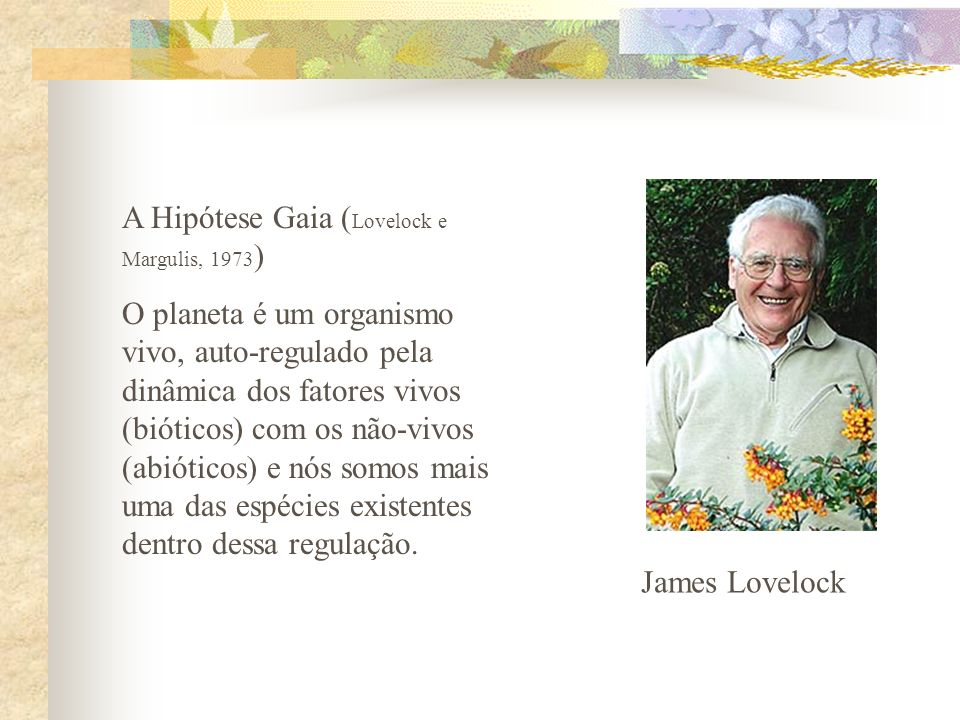 A Hipótese Gaia (Lovelock e Margulis, 1973)