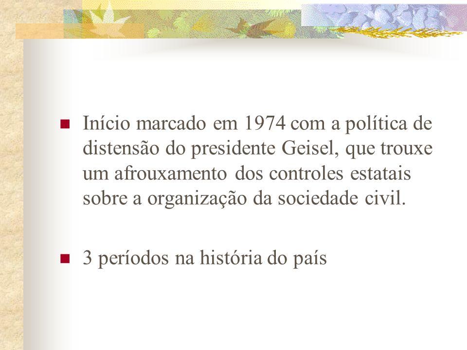 Início marcado em 1974 com a política de distensão do presidente Geisel, que trouxe um afrouxamento dos controles estatais sobre a organização da sociedade civil.