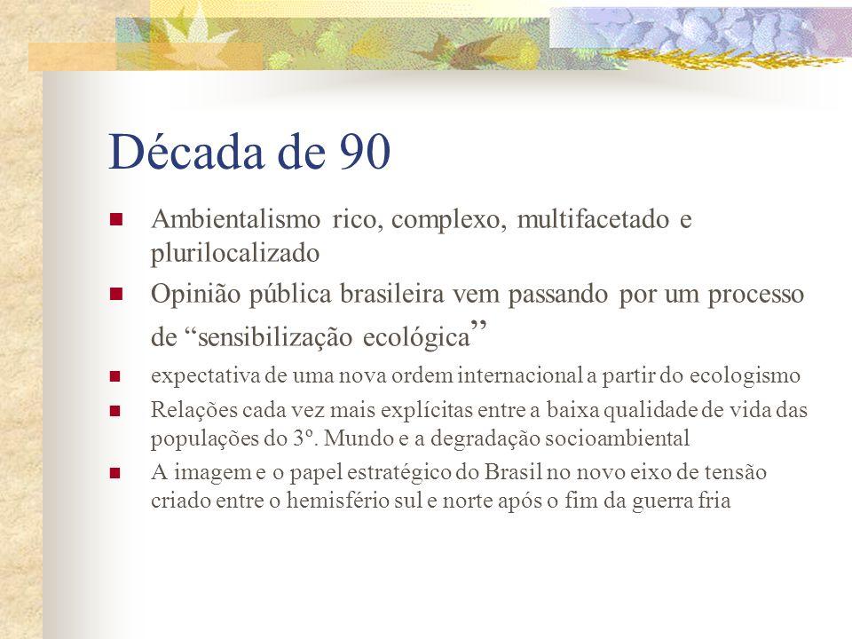 Década de 90 Ambientalismo rico, complexo, multifacetado e plurilocalizado.