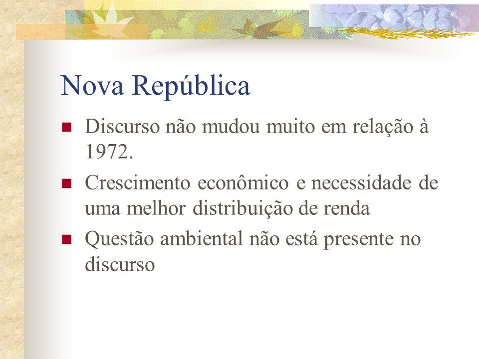 Nova República Discurso não mudou muito em relação à 1972.