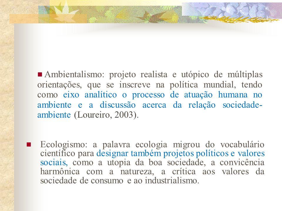 Ambientalismo: projeto realista e utópico de múltiplas orientações, que se inscreve na política mundial, tendo como eixo analítico o processo de atuação humana no ambiente e a discussão acerca da relação sociedade-ambiente (Loureiro, 2003).