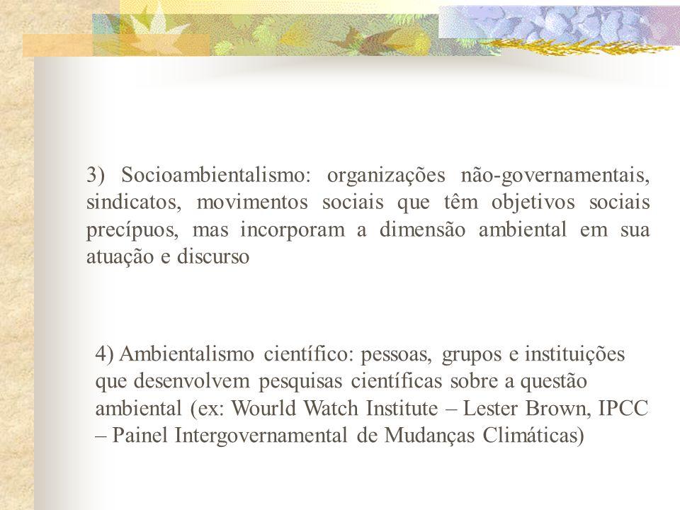 3) Socioambientalismo: organizações não-governamentais, sindicatos, movimentos sociais que têm objetivos sociais precípuos, mas incorporam a dimensão ambiental em sua atuação e discurso