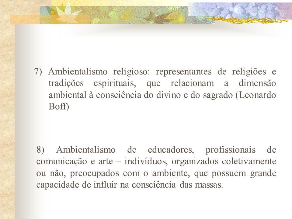 7) Ambientalismo religioso: representantes de religiões e tradições espirituais, que relacionam a dimensão ambiental à consciência do divino e do sagrado (Leonardo Boff)