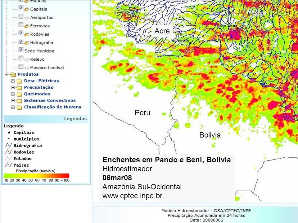 AcrePeru. Bolivia. Enchentes em Pando e Beni, Bolivia. Hidroestimador. 06mar08. Amazônia Sul-Ocidental.