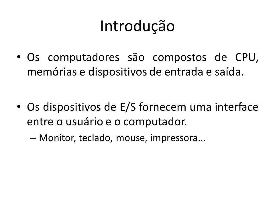 Introdução Os computadores são compostos de CPU, memórias e dispositivos de entrada e saída.