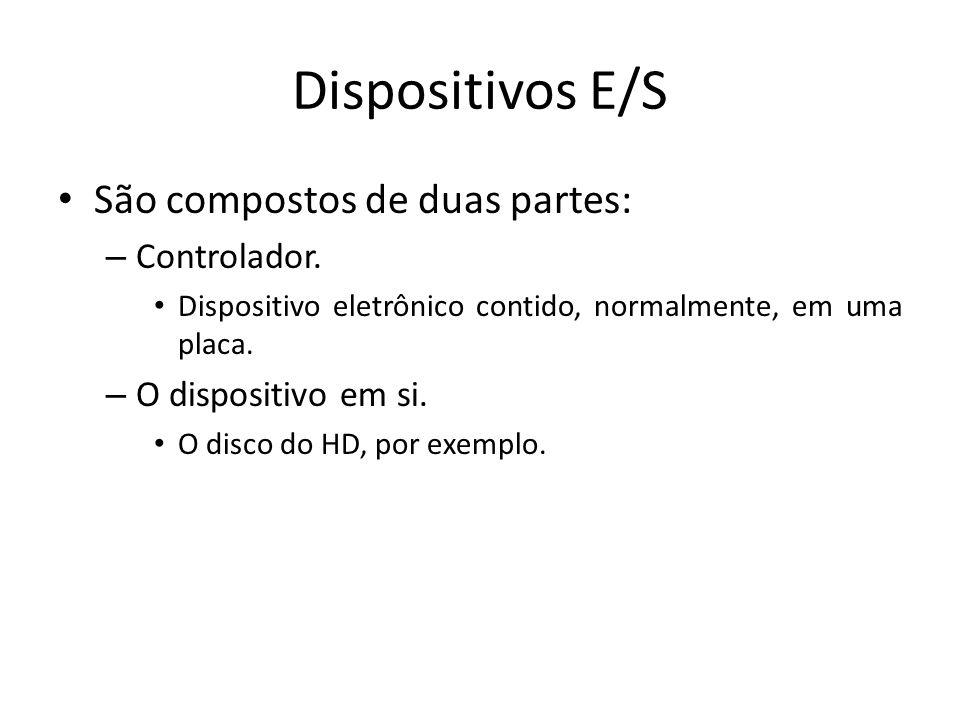 Dispositivos E/S São compostos de duas partes: Controlador.