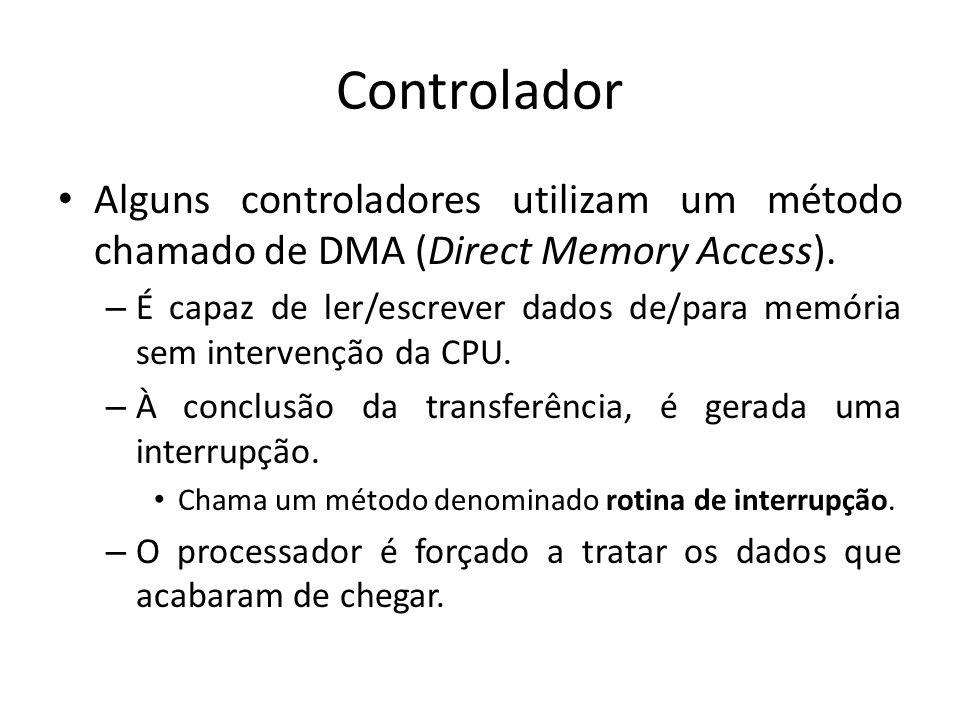 Controlador Alguns controladores utilizam um método chamado de DMA (Direct Memory Access).