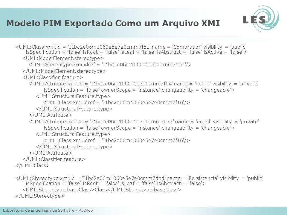 Modelo PIM Exportado Como um Arquivo XMI