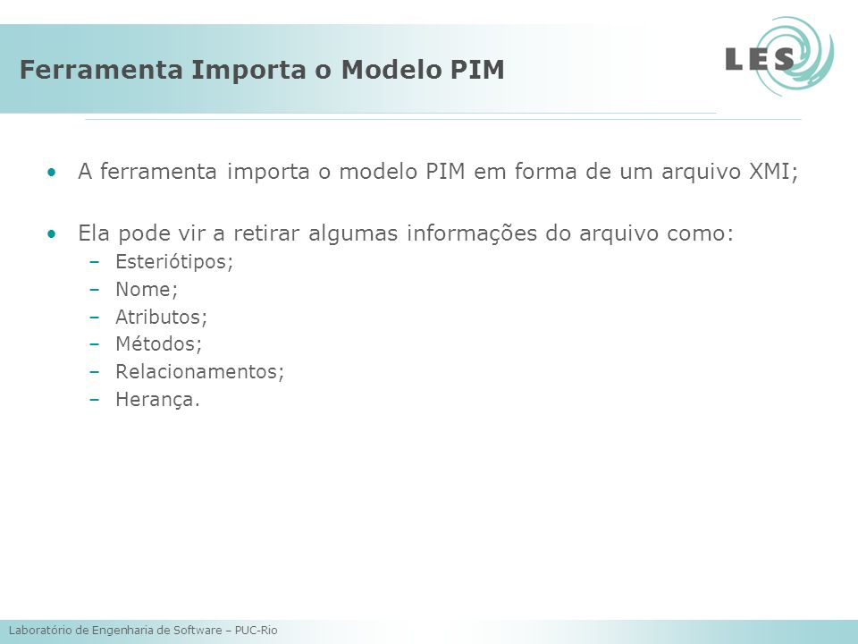 Ferramenta Importa o Modelo PIM