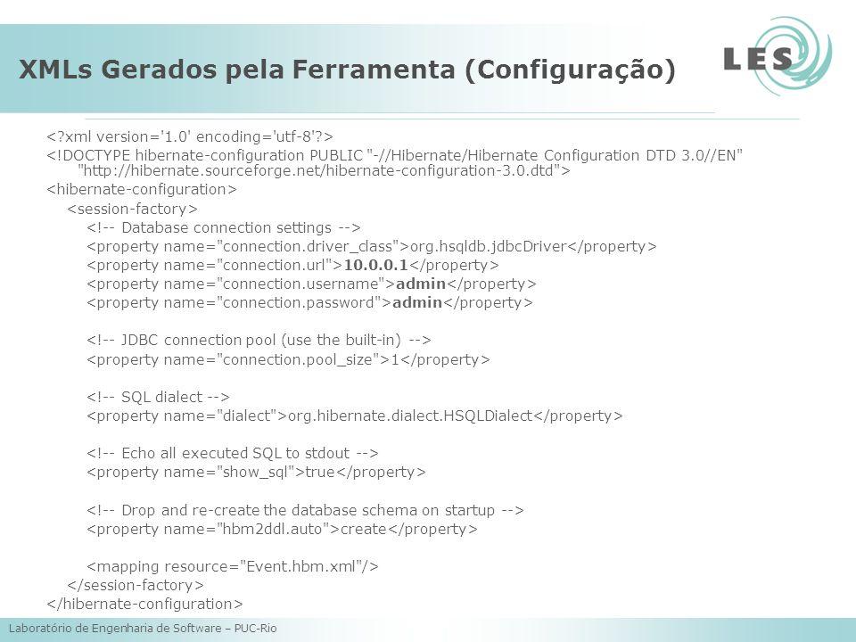 XMLs Gerados pela Ferramenta (Configuração)