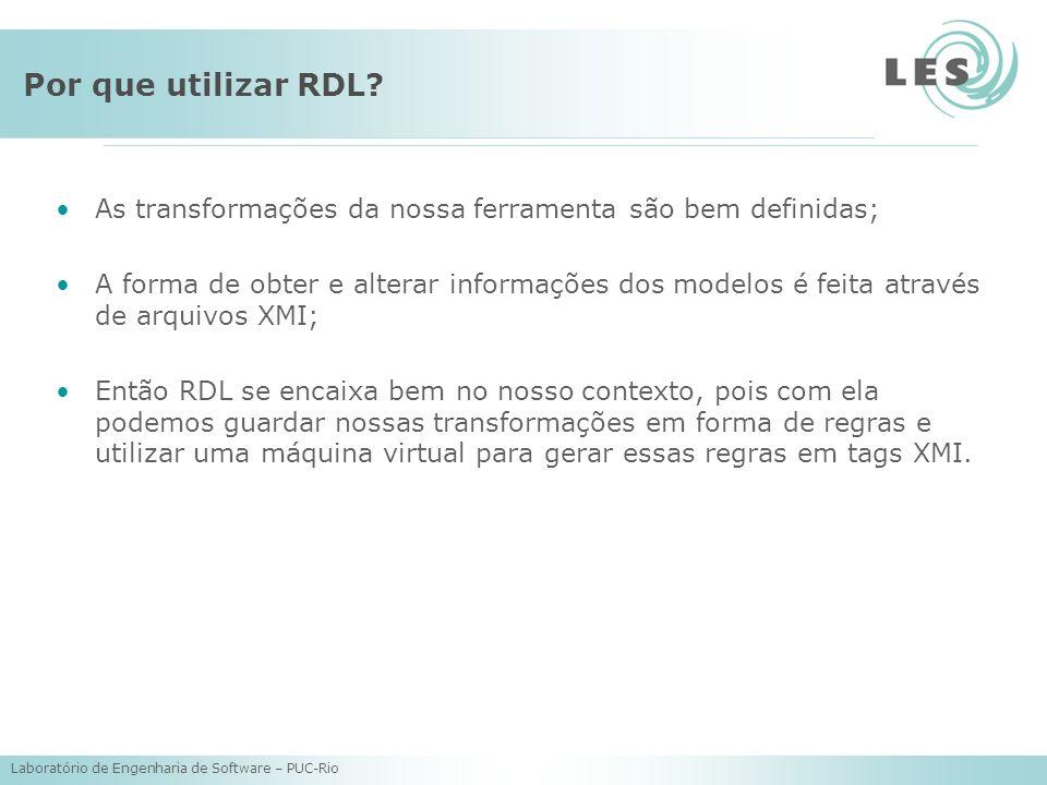 Por que utilizar RDL As transformações da nossa ferramenta são bem definidas;