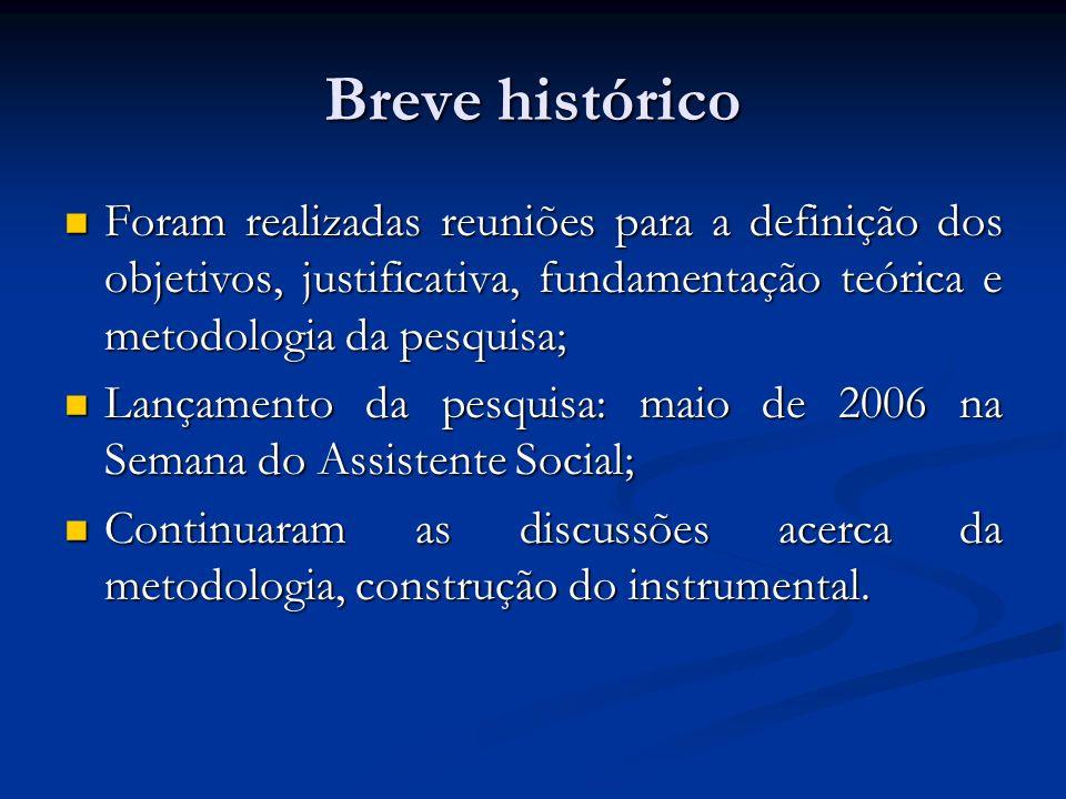 Breve histórico Foram realizadas reuniões para a definição dos objetivos, justificativa, fundamentação teórica e metodologia da pesquisa;