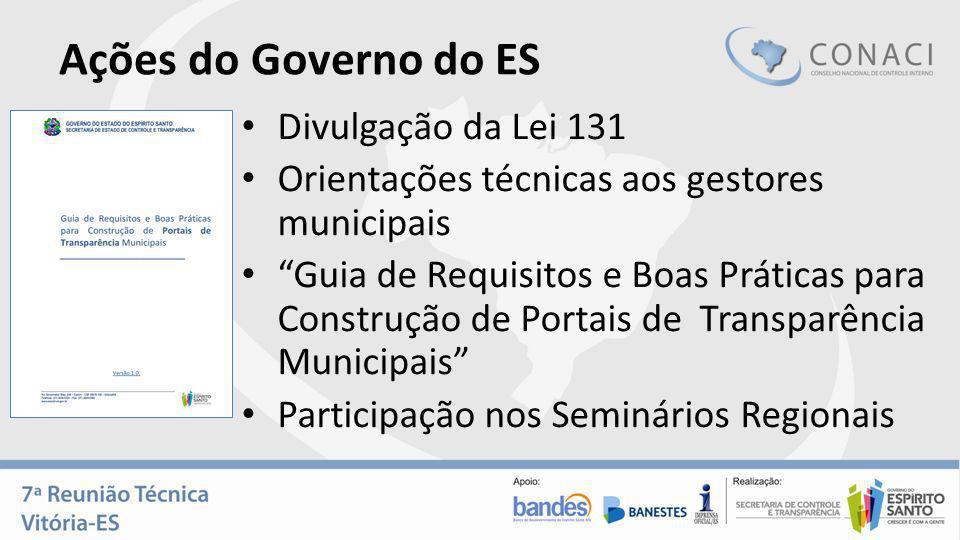 Ações do Governo do ES Divulgação da Lei 131