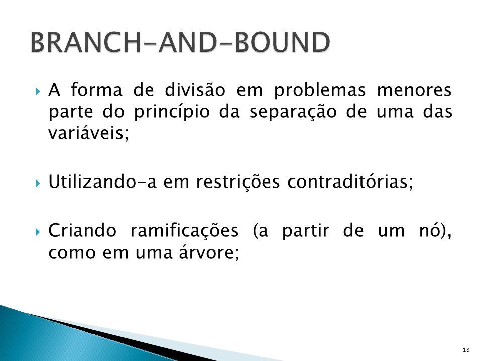 BRANCH-AND-BOUND A forma de divisão em problemas menores parte do princípio da separação de uma das variáveis;