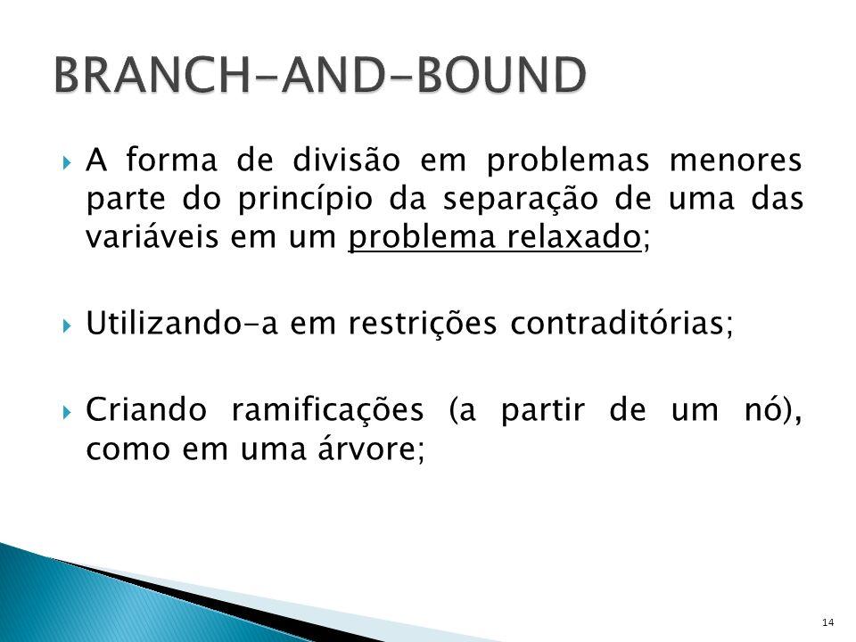 BRANCH-AND-BOUND A forma de divisão em problemas menores parte do princípio da separação de uma das variáveis em um problema relaxado;