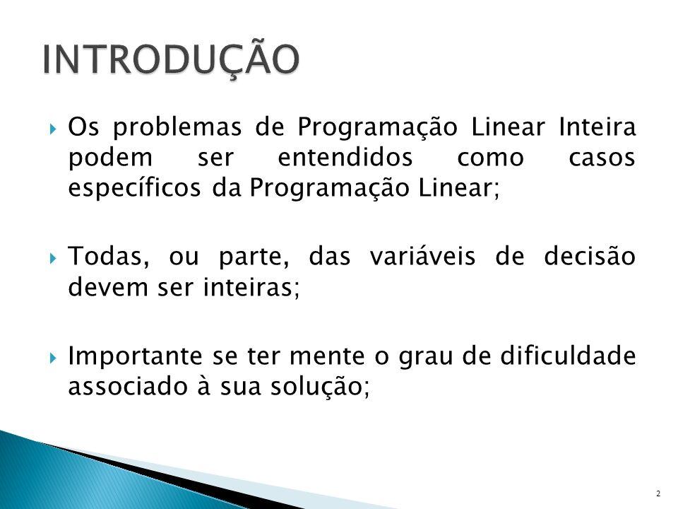 INTRODUÇÃO Os problemas de Programação Linear Inteira podem ser entendidos como casos específicos da Programação Linear;