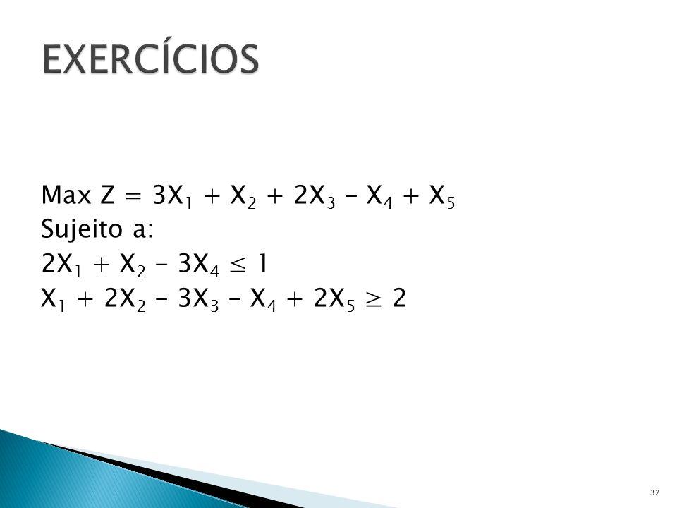 EXERCÍCIOS Max Z = 3X1 + X2 + 2X3 - X4 + X5 Sujeito a: