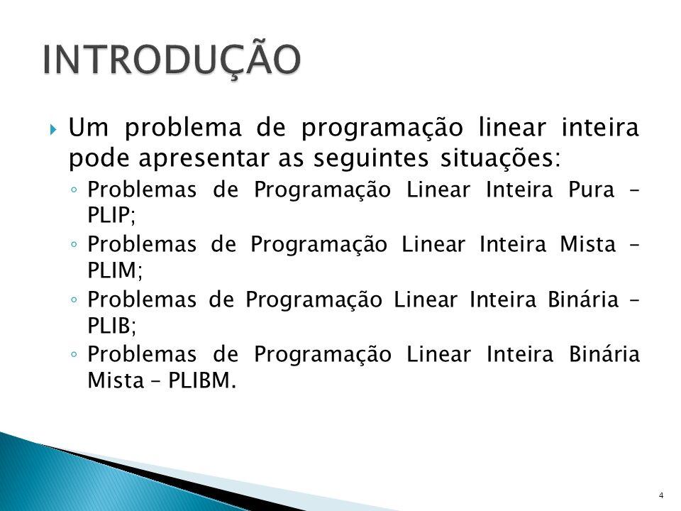 INTRODUÇÃO Um problema de programação linear inteira pode apresentar as seguintes situações: Problemas de Programação Linear Inteira Pura – PLIP;