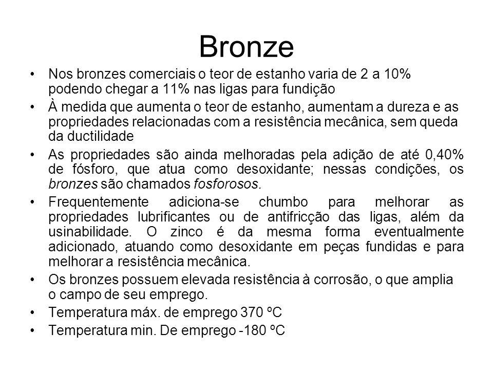 Bronze Nos bronzes comerciais o teor de estanho varia de 2 a 10% podendo chegar a 11% nas ligas para fundição.