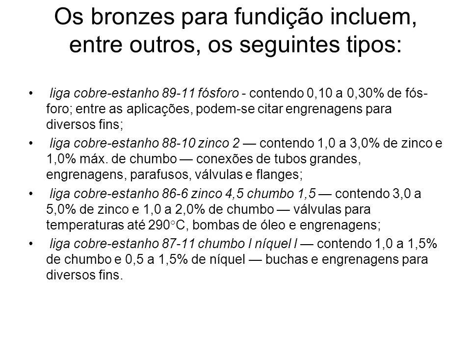 Os bronzes para fundição incluem, entre outros, os seguintes tipos: