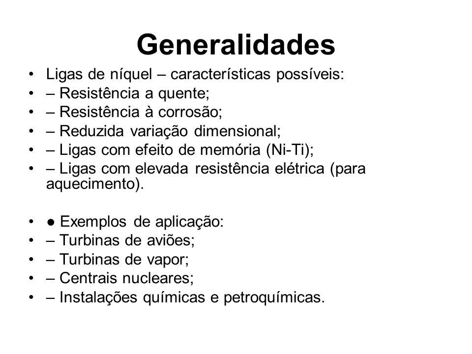 Generalidades Ligas de níquel – características possíveis: