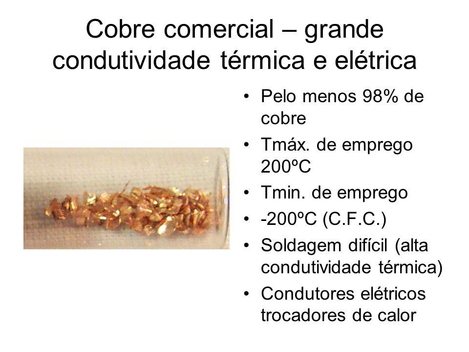 Cobre comercial – grande condutividade térmica e elétrica