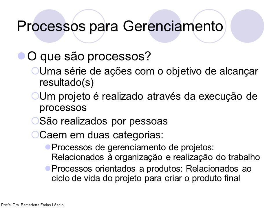 Processos para Gerenciamento