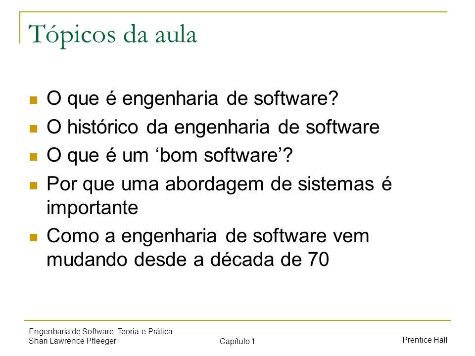 Tópicos da aula O que é engenharia de software