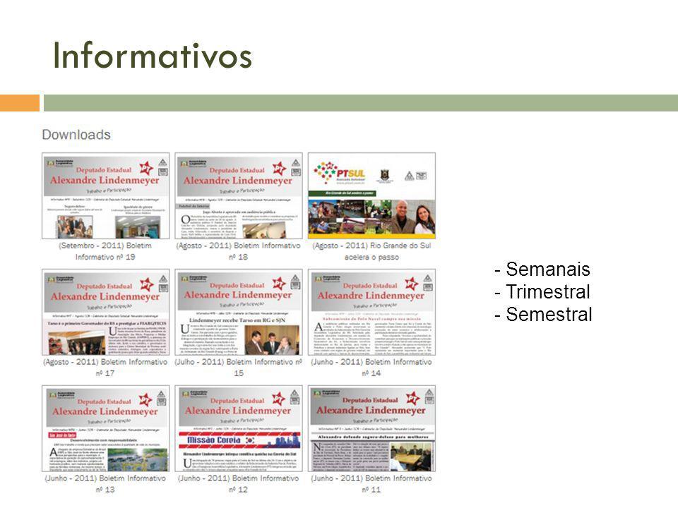 Informativos Semanais Trimestral Semestral