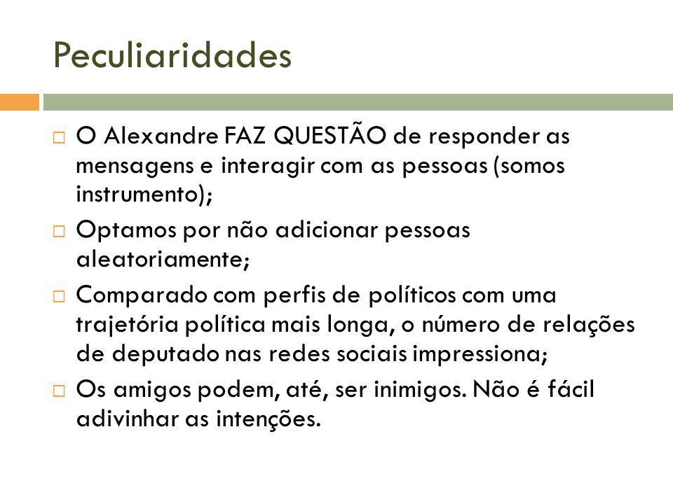 PeculiaridadesO Alexandre FAZ QUESTÃO de responder as mensagens e interagir com as pessoas (somos instrumento);